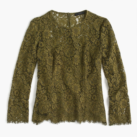 J Crew L/S Lace Top W/ Built-in Cami, Moss Green